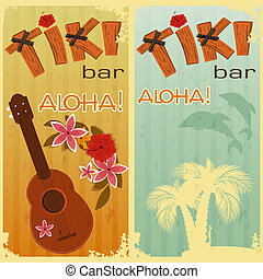 two cards for Tiki bars - retro cards for Tiki bars,...