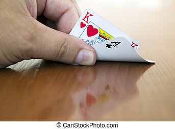 Two cards, king and ace