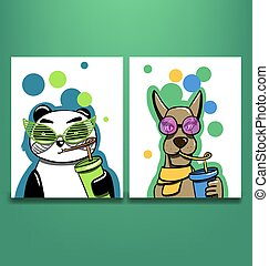 two cards with dog and panda sipping drinks - vector ...