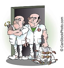 Two carers from the mental hospital - Vector cartoon...