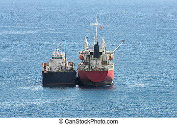Two Cargo ships on the sea
