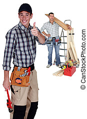Two carpenter with step ladder