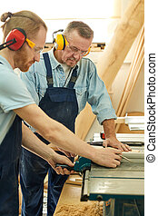 Two Carpenters Cutting Wood