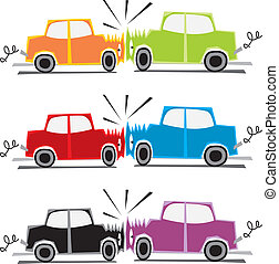 two cars crash - fully editable vector illustration of two...