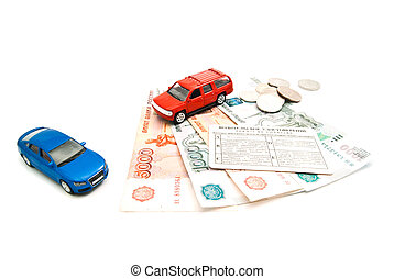 cars, driving license and banknotes