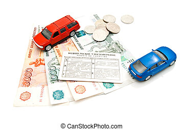 two cars, driving license, coins and money
