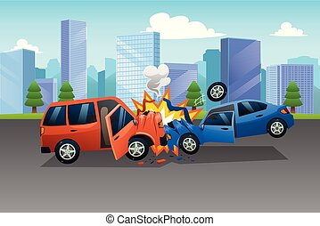Two Cars in an Accident Illustration - A vector of Two Cars...