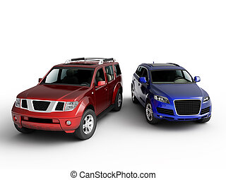 Two cars presentation. Isolated on white background.