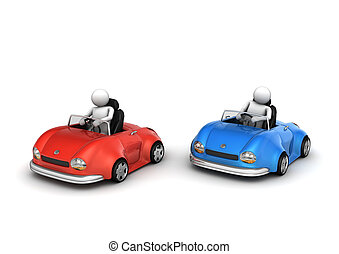 Two cars racing - funny micromachines series