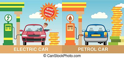 Two cars refueled by petrol and electricity - Illustration...