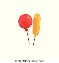 Two cartoon balloons, birthday party decoration