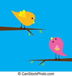 Two cartoon birds. Card.