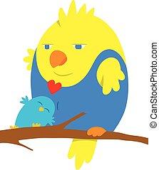 Two cartoon birds in love