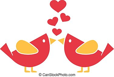 Two cartoon birds in love with hearts
