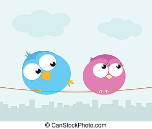 Two cartoon birds sitting on a wire