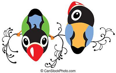 two cartoon birds