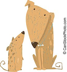 Animal pet friend, drawing puppy, breed doggy, vector illustration