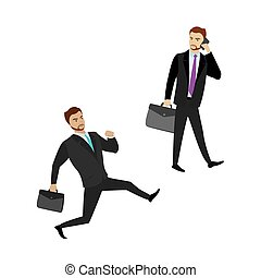 Two cartoon businessman isolated on white background