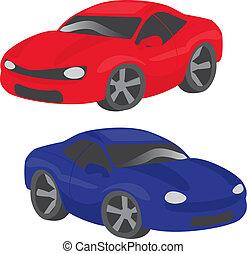 Two cartoon cars