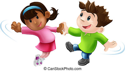 An illustration of two cute happy cartoon dancers dancing together
