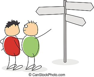 Two cartoon figures looking at a signpost