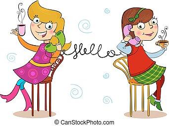 Two cartoon girls talking telephone