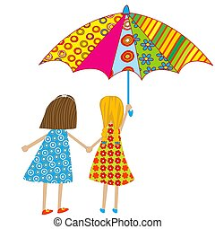 Two cartoon girls with an umbrella