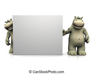 Two cartoon hippos with big blank sign.