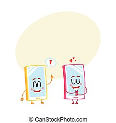Two cartoon mobile phone characters, showing love, giving thumb up