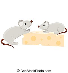 Two cartoon mouses with a piece of cheese