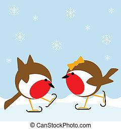 ice skating - two cartoon robin redbreasts ice skating in...