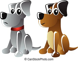 two cartoon vector dogs