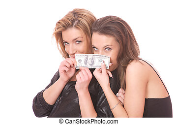 Two casual happy woman with 100 USD bill