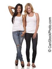 two casual women - beautiful two women wearing casual outfit...