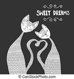 Two cats in love. Antistress coloring book. Hand drawn elements for your designs dress, poster, card, t-shirt.