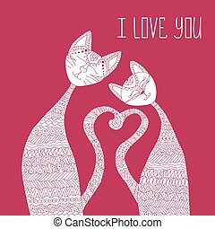 Two cats in love. Antistress coloring book. Hand drawn elements for your designs dress, poster, card, t-shirt