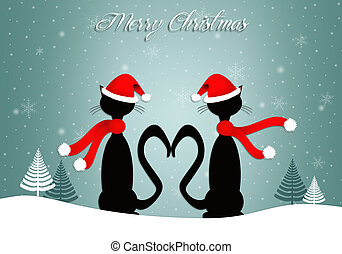 Two cats in love at Christmas - illustration of Two cats in...