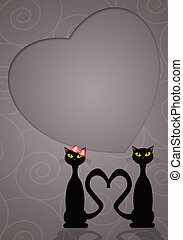 Two cats in love - illustration of Two cats in love