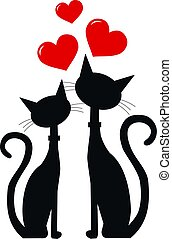 two cats in love - two black cats in love