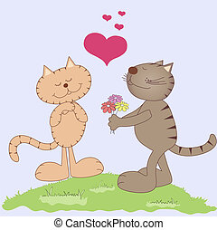 Two cats in love - Two vector cartoon cats in love with...