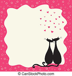 Two cats in love in a retro frame with copy space.