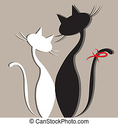 cats - two cats in love on gray background