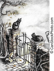 two cats in love sitting on a stone fence