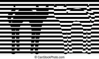 Two cats in monochrome animation. Stripped black and white...