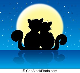 Two cats in moonlight - color illustration.