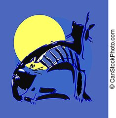 Two cats in the moonlight
