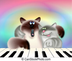 Two Cats Playing Piano - Two musical cats playing piano &...