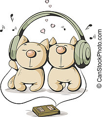 two cats - Two cartoon cat listening to music