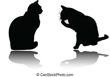 two cats with shadow - vector