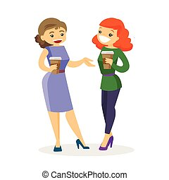 Two caucasian white business women drinking coffee